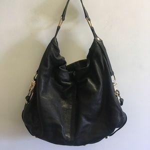 Rebecca minkoff leather satchel silver bag